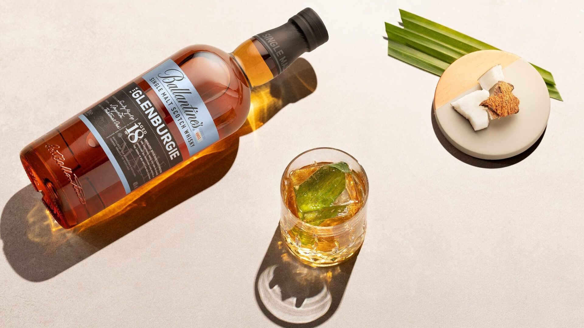 Glenburgie 18 Year Old bottle with coconut and pandan leaf drink