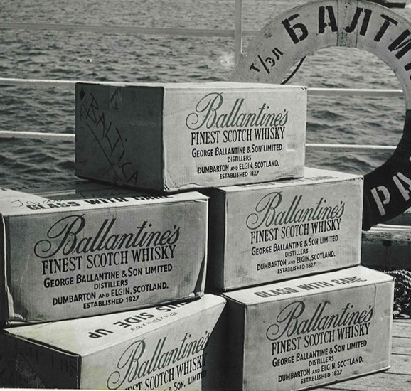 Ballantines crates on dock