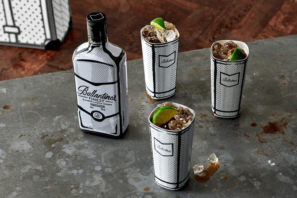 Ballantine's Joshua Vides bottle with 3 cola drinks