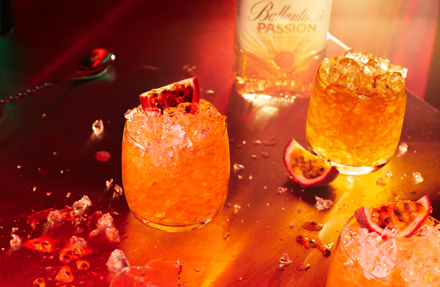 Ballantine's Passion sour drink with Bottle