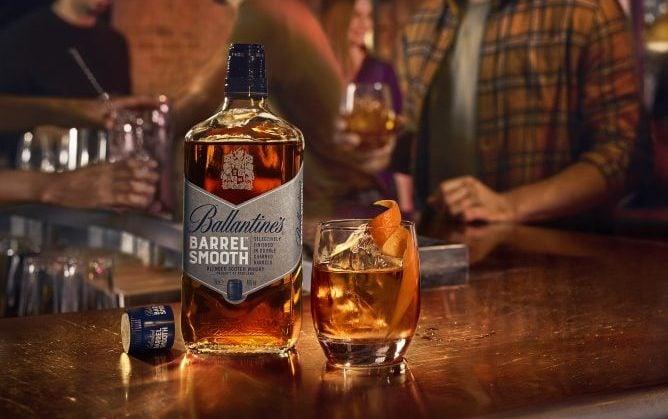 Ballantine's Barrel Smooth bottle with drink