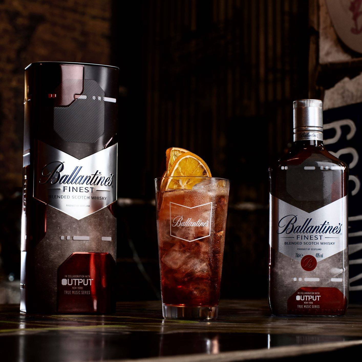 Ballantine's The Clubs collection series limited edition bottle with drink