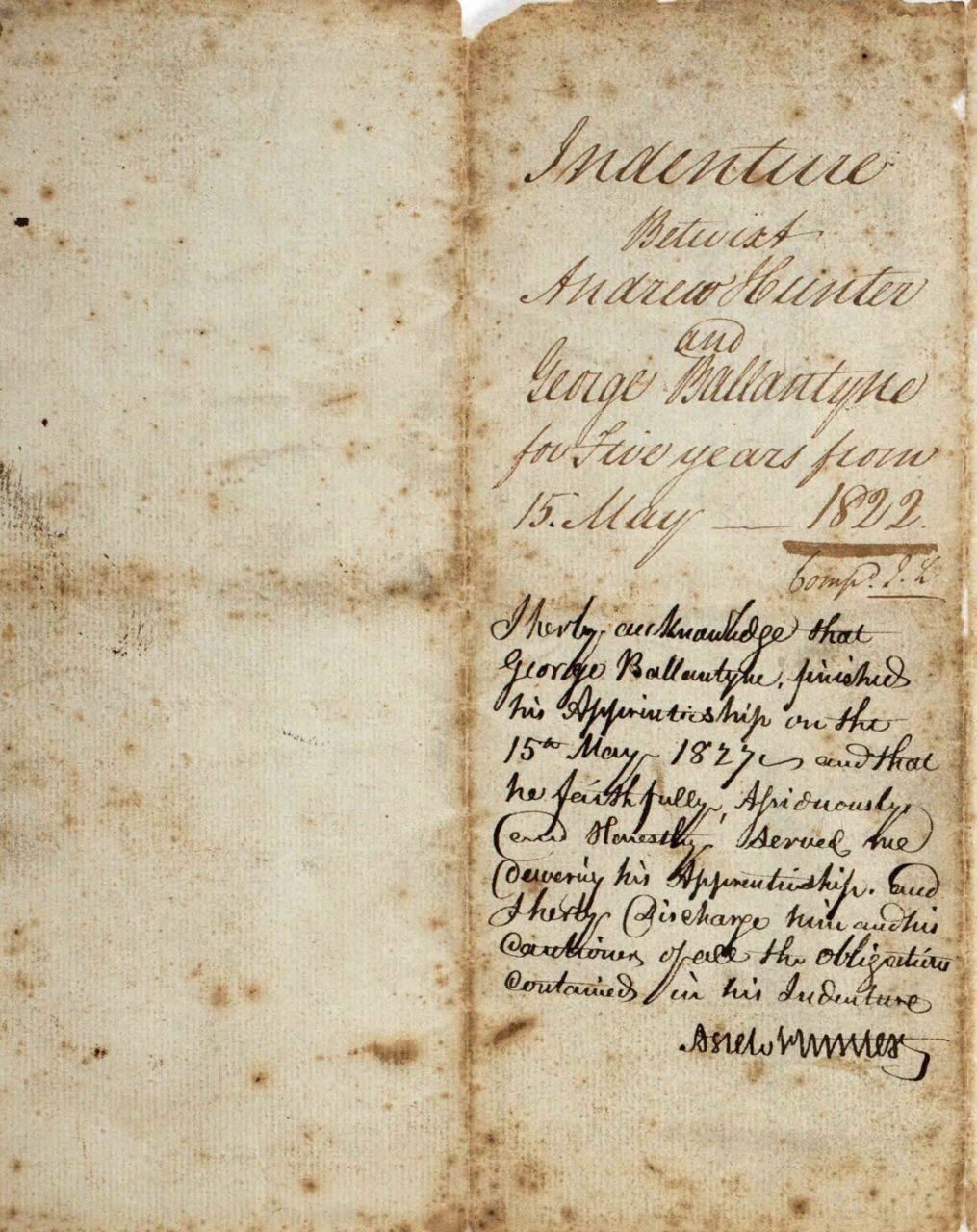 Indenture Andrew Hunter & George Ballantyne