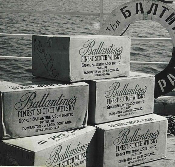 ballantines scotch whisky crates