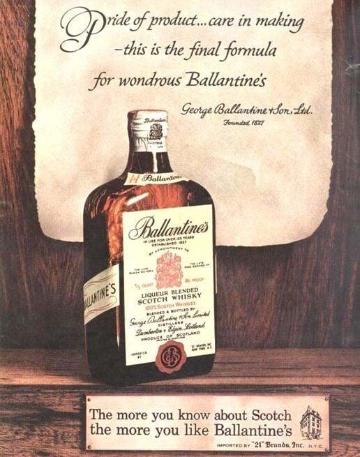 early ballantines ad