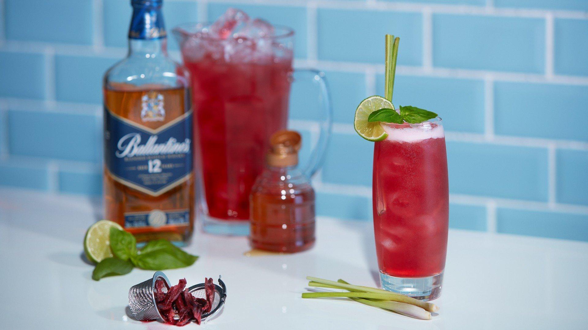Hibiscus iced tea with Ballantine's 12